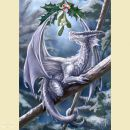 Anne Stokes Jul - Grußkarte SNOW DRAGON