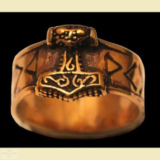 Ring Runen mit Thors Hammer, Bronze