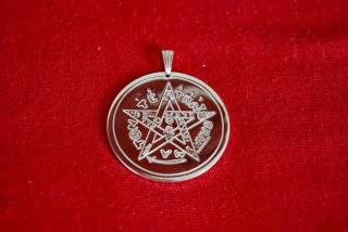 Amulett Anhänger Tetragrammaton, Messing versilbert