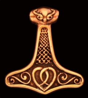 Amulett Anhänger Thors Hammer, groß mit Verzierung, Bronze