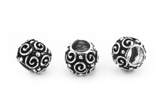 Bartperle und Lockenperle Spiralen, Silber 925, 1 Stck.