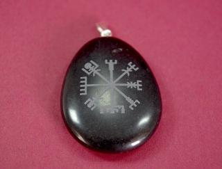 Amulett Anhänger Vegvisir Wikingerkompass auf Onyx