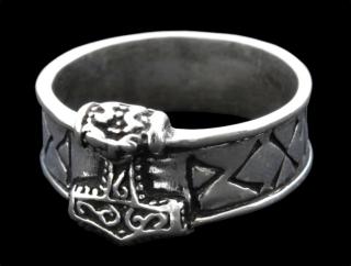 Ring Runen mit Thors Hammer, Silber 925