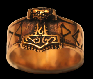 Ring Runen mit Thors Hammer, Bronze