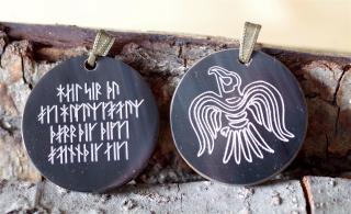 Runenamulett Anhänger Rabenzauber mit Zauberspruch