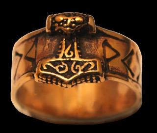 Ring Runen mit Thors Hammer, Bronze 21 / 66