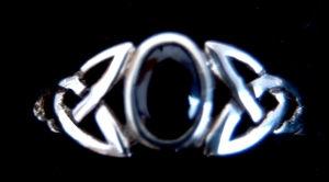 Ring Celtic Myth mit schwarzem Kristall, Siber 925 18 / 56