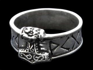 Ring Runen mit Thors Hammer, Silber 925 22 / 70