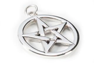 Amulett Anhänger Pentagramm, beideitig tragbar Sterlingsilber 925