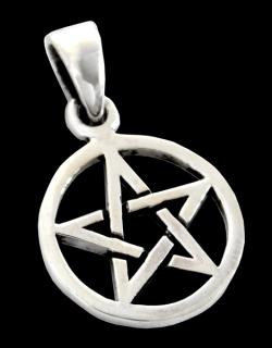Amulett Anhänger Kleines Pentagramm, beideitig tragbar Sterlingsilber 925