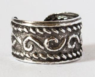 Ohrklemme, Bartperle  Keltische Spiralen, Silber 925