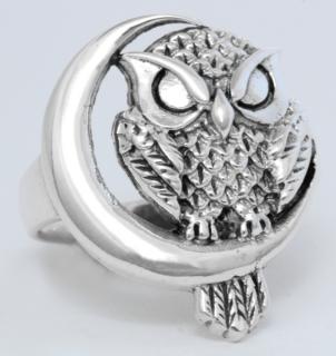 Ring Eule mit Sichelmond, Silber 925 19 / 60