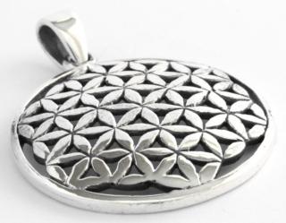 Amulett Anhänger Blume des Lebens, Silber 925