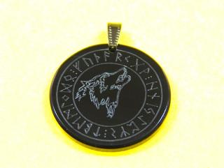 Amulett Anhänger Wolf im Runenkreis, Rinderhorn