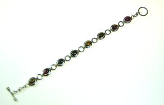 Armband, massiv Silber 925, mit 8 farbigen Turmalinen, Juwelierqualität
