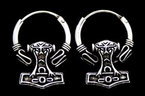 Ohrhänger, Creolen Thors Hammer, Silber 925, 1 Paar