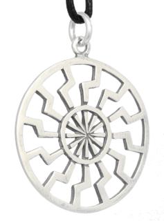 Amulett Anhänger Wikinger Sonnenrad groß, Silber 925