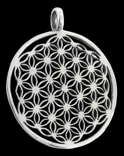 Amulett Anhänger Blume des Lebens groß, Silber 925