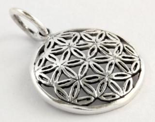 Amulett Anhänger Blume des Lebens klein, Silber 925