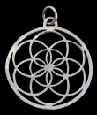 Amulett Anhänger Blume des Lebens groß, Silber...