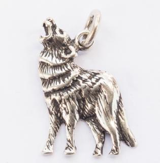 Amulett Anhänger Wolf, Silber 925