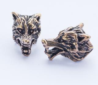 Bartperle und Lockenperle Vuk 2 Wolfskopf, Bronze,1 Stck.