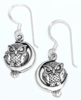 Ohrhänger Eule auf Sichelmond, Silber 925, 1 Paar