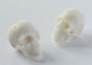 Bartperle und Lockenperle Totenkopf Skull, Knochen, 1 Stck.