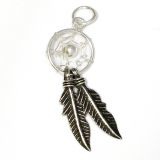 Amulett Anhänger Traumfänger klein, 2 Federn, Silber 925