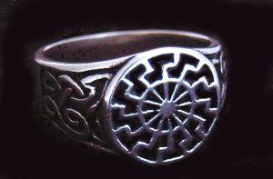 Siegelring Sonnenrad Sonnenkreis, Silber 925 19 / 60
