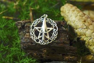 Amulett Anhänger Pentagramm und Athame, Silber 925