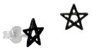 Ohrstecker Pentagramm, Silber 925 geschwärzt