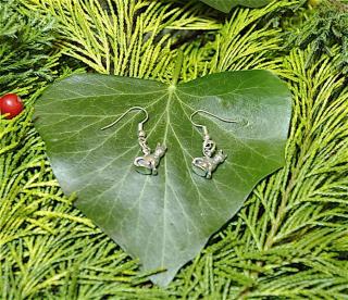 Ohrhänger Katze mit Pentagramm, Silber 925