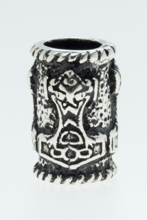 Bartperle und Lockenperle Thors Hammer Mjölnir 2, Silber 925