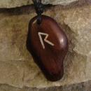 Amulett Anhänger Rune Raidho, Rosenholz