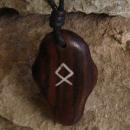 Amulett Anhänger Rune Othala, Rosenholz