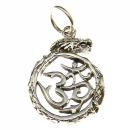 Amulett Anhänger Drache mit OM, Silber 925