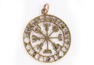 Amulett Anhänger Großer Wikinger Kompass Vegvisir, Bronze