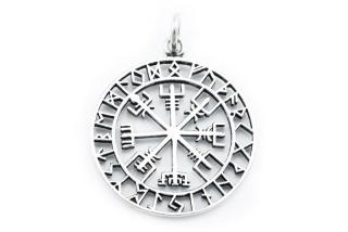 Amulett Anhänger Großer Wikinger Kompass Vegvisir, Silber 925