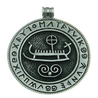 Amulett Anhänger Großes Wikingerschiff mit Runen, Silber 925