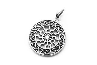 Amulett Anhänger Sonnenrad Sonnenkreis mit Wikinger Knoten, Silber 925