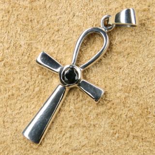 Amulett Anhänger Ankh mit schw. Zirkonia, Silber 925