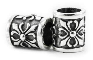 Bartperle und Haarperle groß Fleur Cross, Silber 925