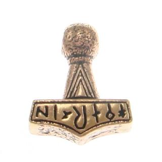 Anhänger Replika Thors Hammer mit Runen, Bronze