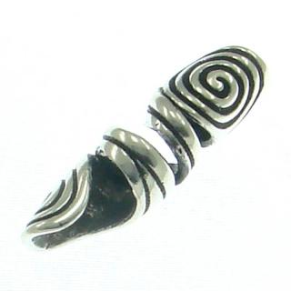 Bartperle und Haarperle Doppelspirale groß, Silber 925