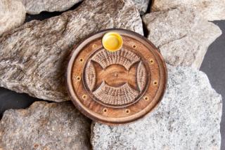 Räucherstäbchenhalter Triple Moon, Holz geschnitzt