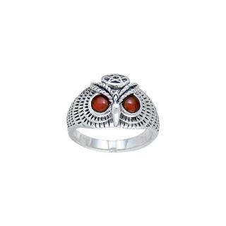 Ring Eule mit Pentagramm und Edelsteinaugen, Silber 925, Peter Stone