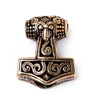 Bartperle und Anhänger Mjölnir, Thors Hammer, Bronze