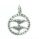 Anhänger Raben im Runenkreis, Silber 925