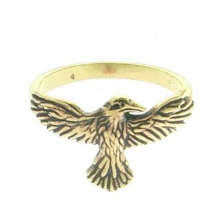 Ring Rabe fliegend, Bronze versch. Größen